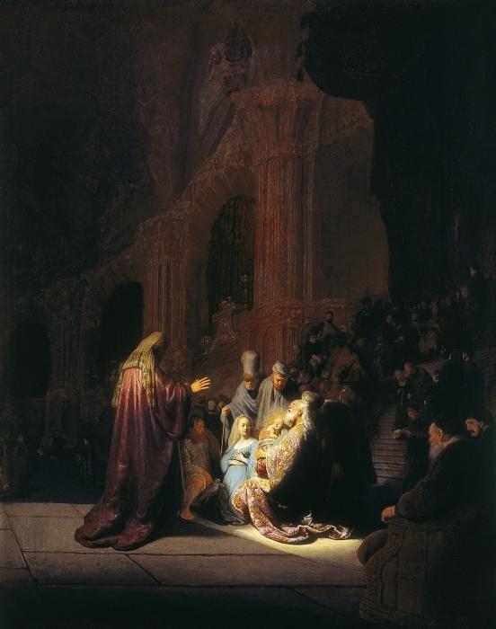 Pixerstick Aufkleber Rembrandt - Simeon im Tempel - Reproduktion