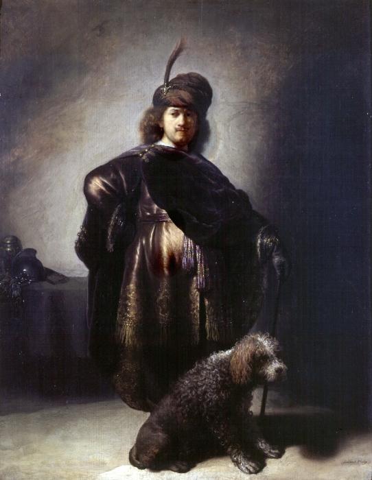 Pixerstick Sticker Rembrandt van Rijn - Zelfportret in oosterse kleding met poedel - Reproducties