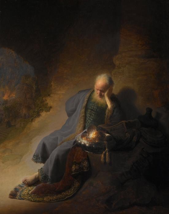 Pixerstick Aufkleber Rembrandt - Jeremia beklagt die Zerstörung Jerusalems - Reproduktion
