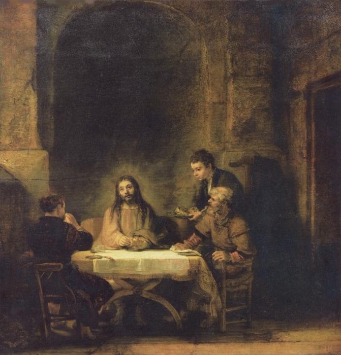Pixerstick Aufkleber Rembrandt - Christus in Emmaus - Reproduktion