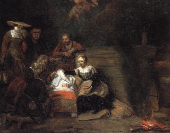Papier peint vinyle Rembrandt - Adoration des bergers - Reproductions