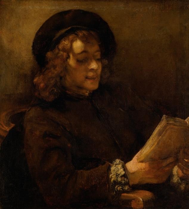 Pixerstick Aufkleber Rembrandt - Porträt des Titus, lesend - Reproduktion