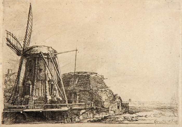 Pixerstick Aufkleber Rembrandt - Die Mühle - Reproduktion