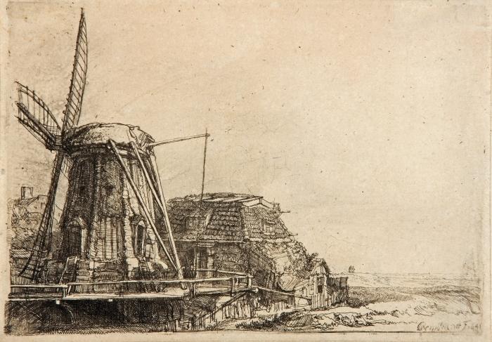 Naklejka Pixerstick Rembrandt - Młyn - Reprodukcje