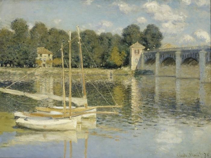 Pixerstick Aufkleber Claude Monet - Die Eisenbahnbrücke von Argenteuil - Reproduktion
