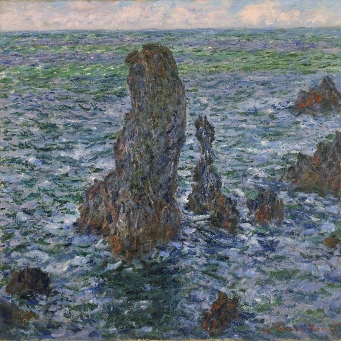Papier peint vinyle Claude Monet - Rochers à Belle-Île, Port-Domois - Reproductions