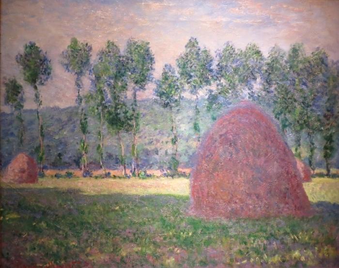 Carta da Parati in Vinile Claude Monet - Mucchi di fieno vicino a Giverny - Riproduzioni