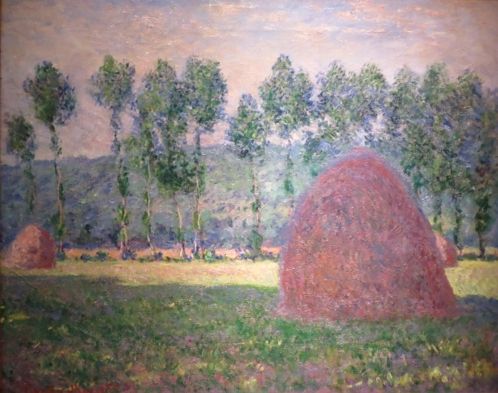 Naklejka Pixerstick Claude Monet - Stogi siana w Giverny - Reprodukcje