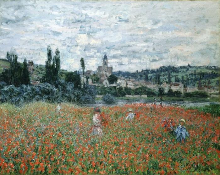 Papier peint vinyle Claude Monet - Champ de coquelicots près de Vétheuil - Reproductions