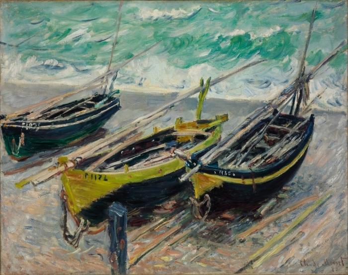 Pixerstick Aufkleber Claude Monet - Drei Fischerboote - Reproduktion
