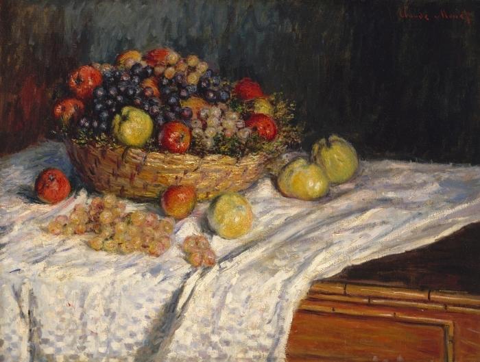 Pixerstick Aufkleber Claude Monet - Trauben und Äpfel - Reproduktion