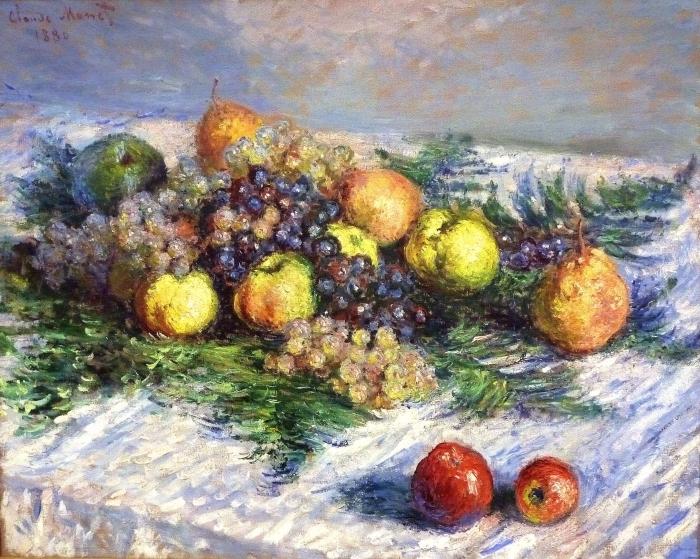 Papier peint vinyle Claude Monet - Nature morte aux poires et raisins - Reproductions