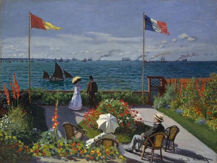 Naklejka Pixerstick Claude Monet - Taras nad morzem w Sainte-Adresse - Reprodukcje
