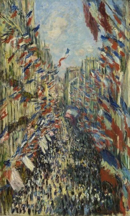 Vinilo Pixerstick Claude Monet - Montargueil rue con Banderas - Reproducciones