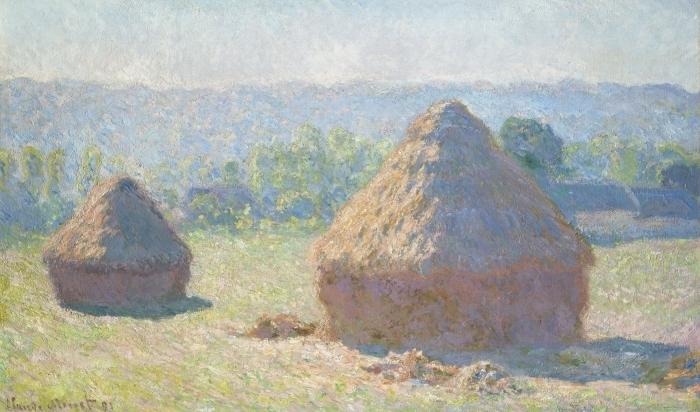 Selbstklebende Fototapete Claude Monet - Getreideschober - Reproduktion