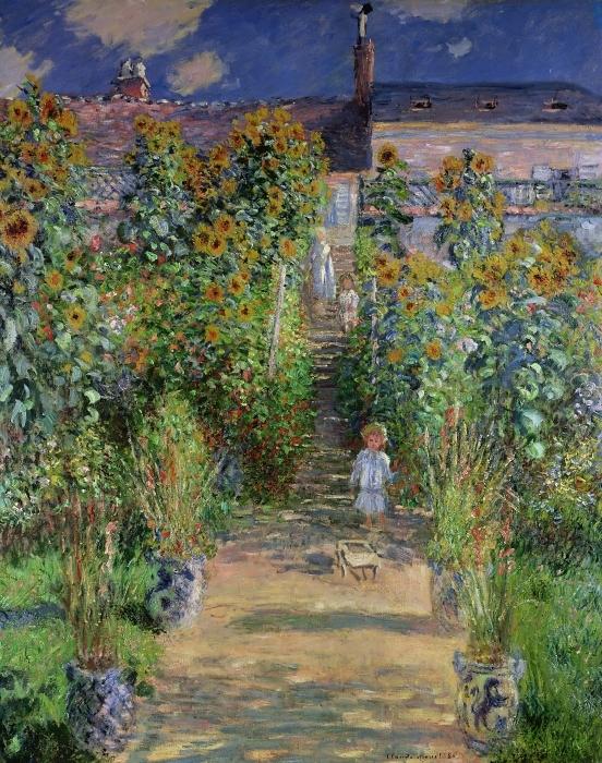 Claude Monet - Monet's Garden at Vetheuil Pixerstick Sticker - Reproductions