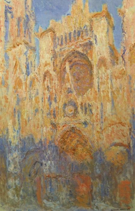 Sticker Pixerstick Claude Monet - La Cathédrale de Rouen, façade, soleil couchant - Reproductions