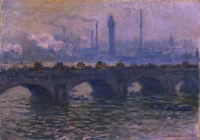 Carta da Parati in Vinile Claude Monet - Waterloo Bridge - Riproduzioni