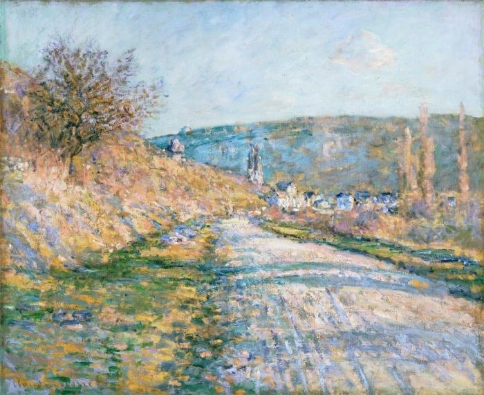 Papier peint vinyle Claude Monet - La route de Vétheuil - Reproductions