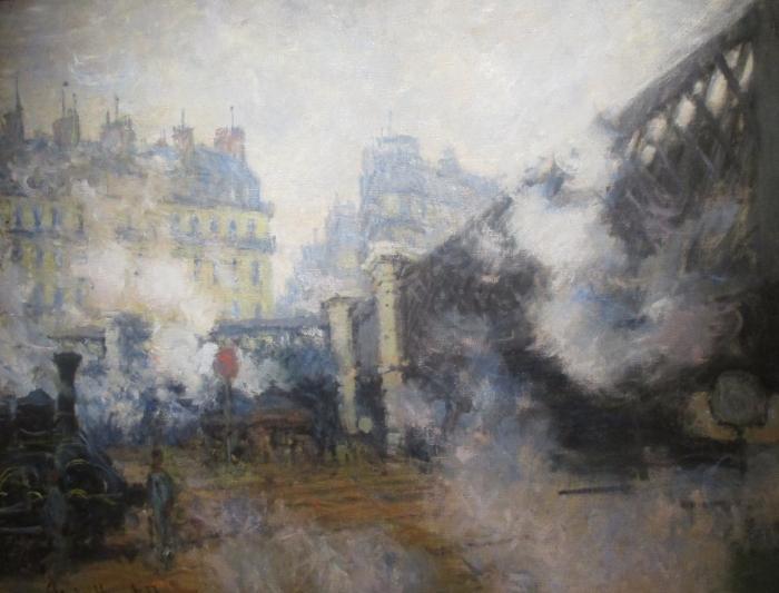 Papier peint vinyle Claude Monet - Pont de l'Europe, gare Saint-Lazare - Reproductions