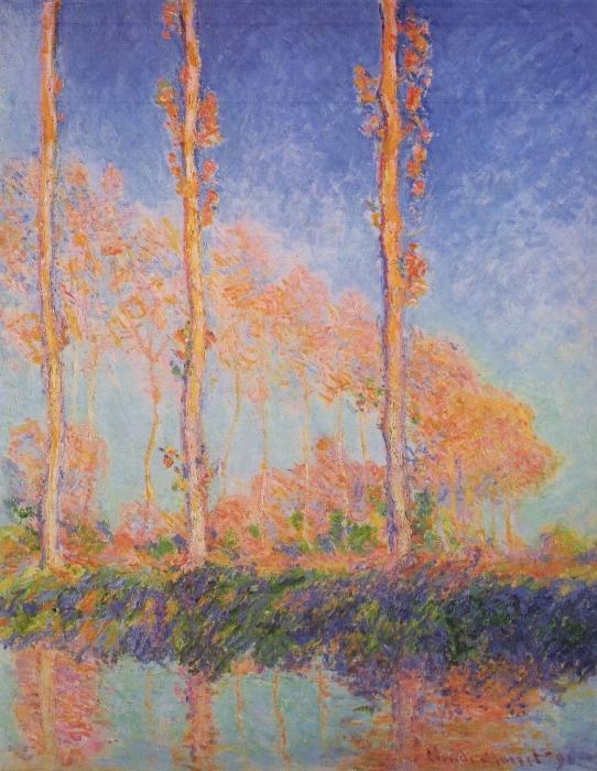 Vinilo Pixerstick Claude Monet - Los tres álamos en otoño - Reproducciones