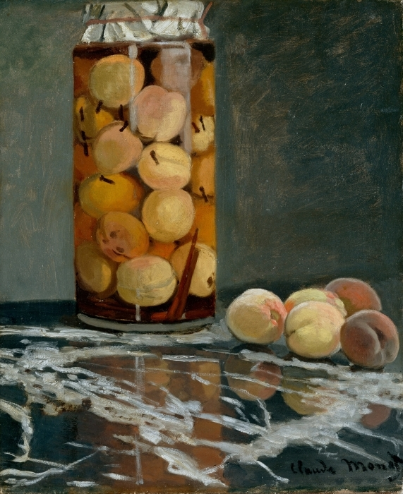 Claude Monet - Glass with Peaches Pixerstick Sticker - Reproductions