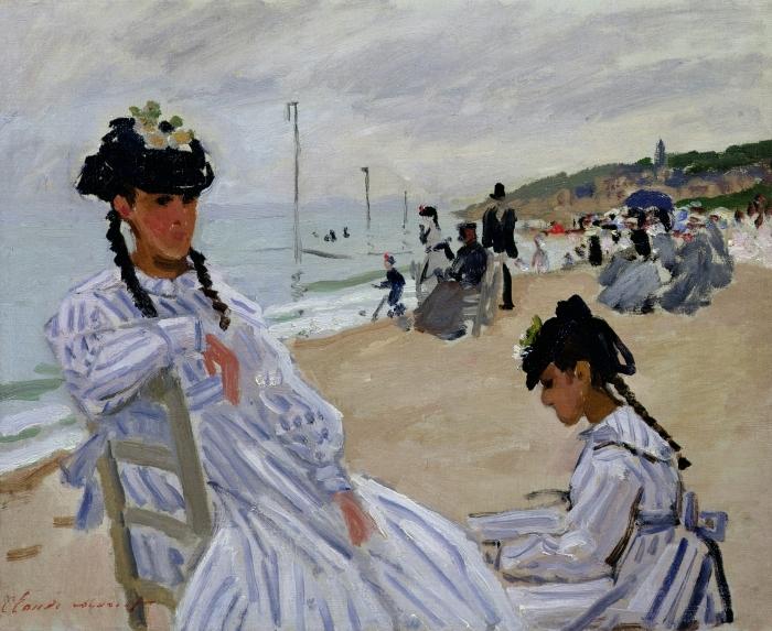 Naklejka Pixerstick Claude Monet - Plaża w Trouville - Reprodukcje