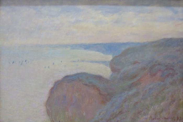 Naklejka Pixerstick Claude Monet - Klif nieopodal Dieppe - Reprodukcje