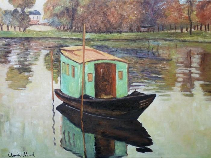 Naklejka Pixerstick Claude Monet - Atelier w łódce - Reprodukcje
