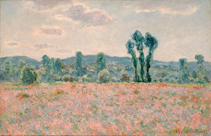 Sticker Pixerstick Claude Monet - Champ de coquelicots - Reproductions