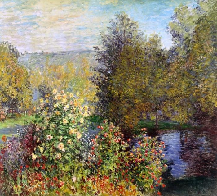 Naklejka Pixerstick Claude Monet - Fragment ogrodu w Montgeron - Reprodukcje