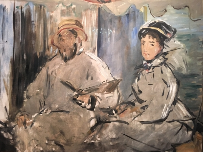 Naklejka Pixerstick Édouard Manet - Monet w swym pływającym studio - Reproductions