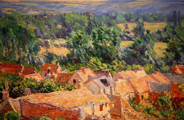 Claude Monet - Näkymä kylään Giverny Pixerstick tarra -