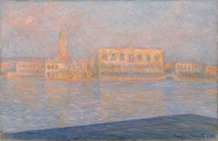 Naklejka Pixerstick Claude Monet - Widok na pałac Dożów z San Giorgio Maggiore - Reprodukcje