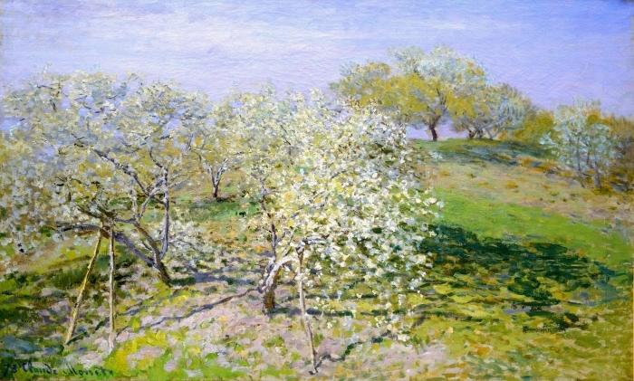 Pixerstick Sticker Claude Monet - Bloeiende appelbomen - Reproducties