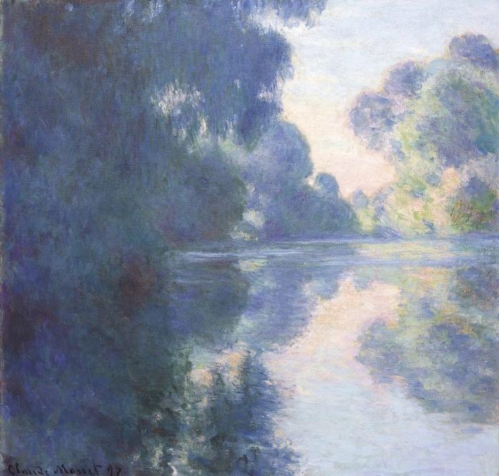 Pixerstick Aufkleber Claude Monet - Seine am Morgen - Reproduktion