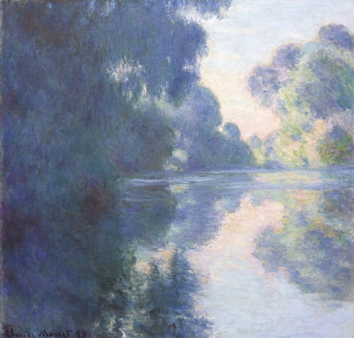 Sticker Pixerstick Claude Monet - Matin sur la Seine - Reproductions