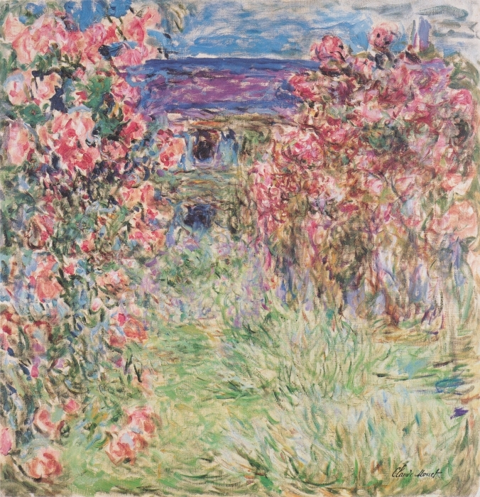 Naklejka Pixerstick Claude Monet - Dom wśród róż - Reprodukcje