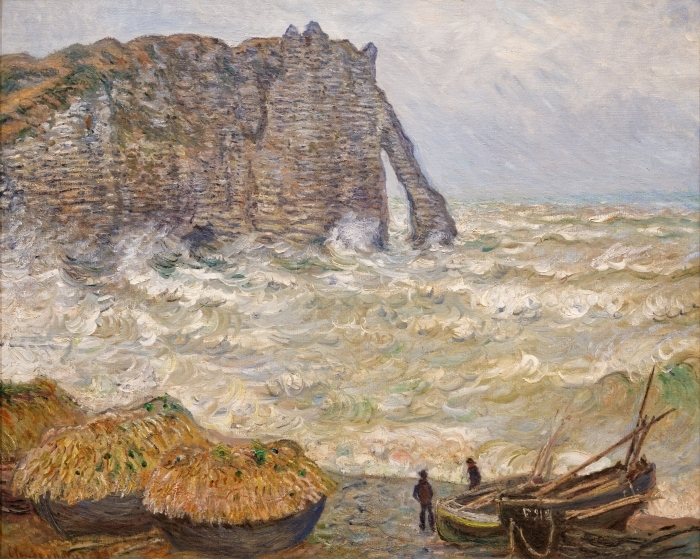 Naklejka Pixerstick Claude Monet - Wzburzone morze niedaleko Étretat - Reprodukcje