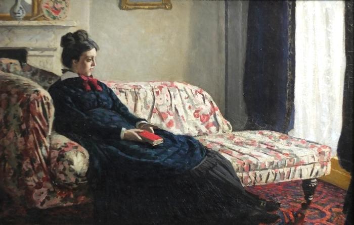 Pixerstick Aufkleber Claude Monet - Meditation oder Madame Monet auf dem Sofa - Reproduktion