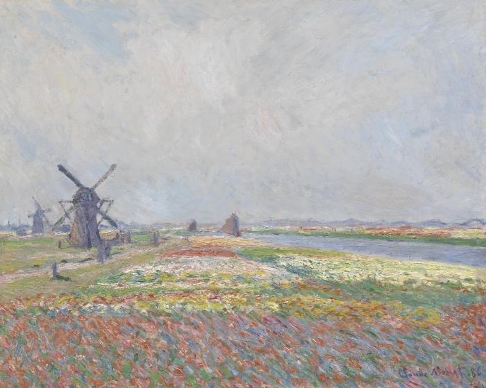 Naklejka Pixerstick Claude Monet - Pole tulipanów z wiatrakiem koło Rijnsburga - Reprodukcje