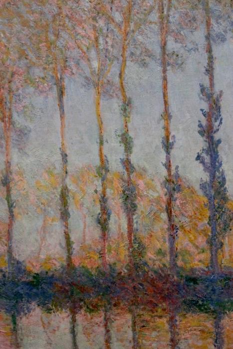 Naklejka Pixerstick Claude Monet - Topole nad rzeką Epte - Reprodukcje
