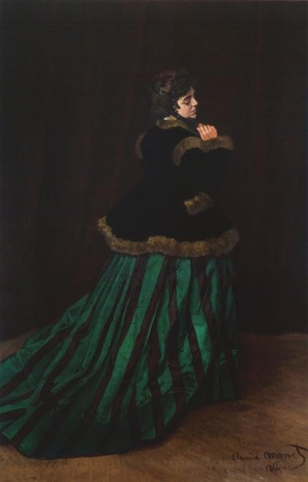 Naklejka Pixerstick Claude Monet - Camille. Kobieta w zielonej sukni. - Reprodukcje