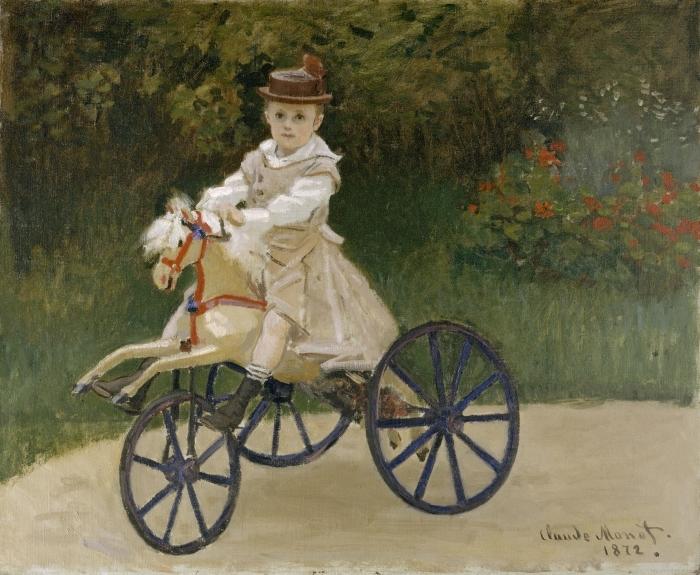 Papier peint vinyle Claude Monet - Jean Monet sur son cheval mécanique - Reproductions