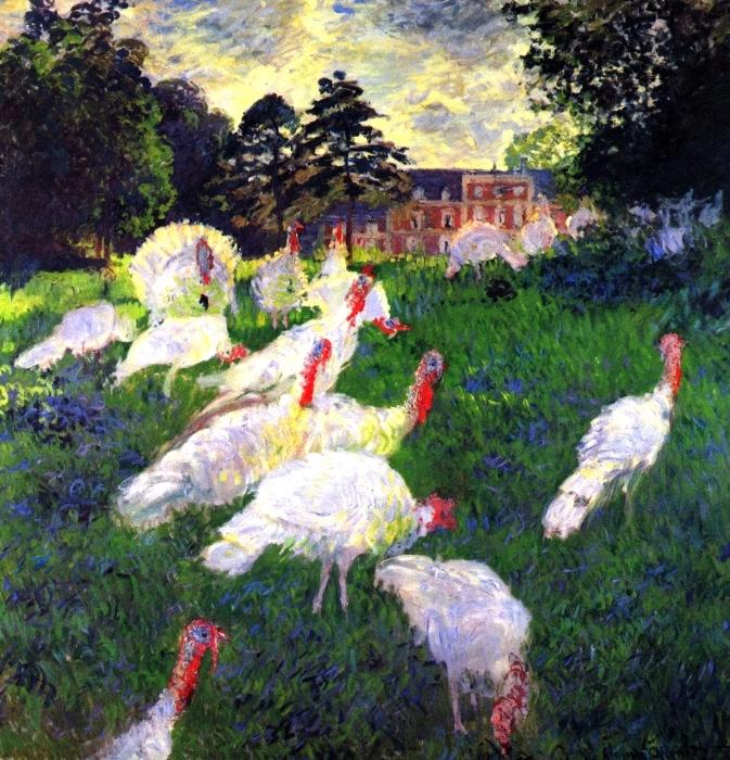 Autocolante Pixerstick Claude Monet - Os perus no Chateau de Rottembourg - Reproduções