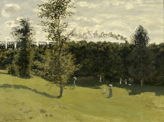 Pixerstick Aufkleber Claude Monet - Eisenbahn in offener Landschaft - Reproduktion