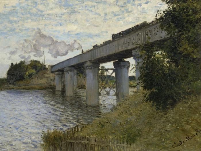Papier peint vinyle Claude Monet - Le Pont du chemin de fer à Argenteuil - Reproductions