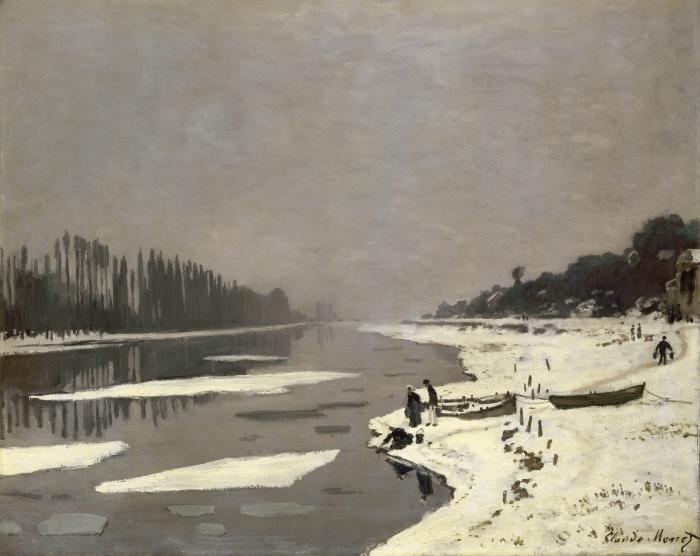 Naklejka Pixerstick Claude Monet - Lód na Sekwanie w Bougival - Reprodukcje