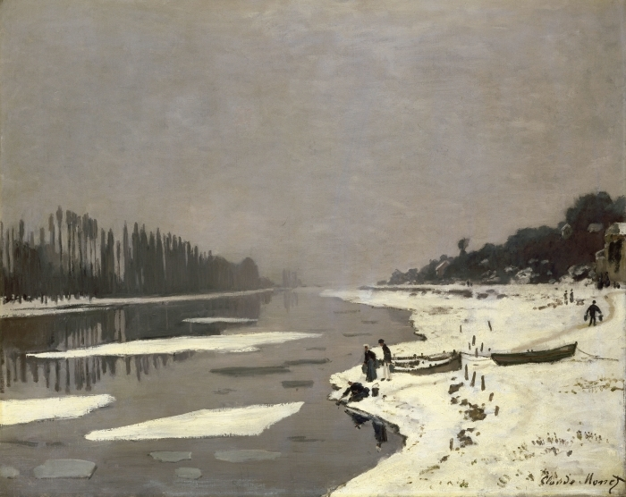 Claude Monet - Ice on the Seine at Bougival Vinyl Wall Mural - Reproductions