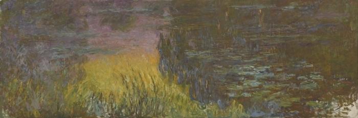 Pixerstick Aufkleber Claude Monet - Seerosen bei Sonnenuntergang - Reproduktion